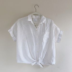 Madewell Striped Button Up Tie Top S